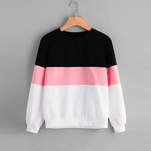 FeiTong Women Hoodies Long Sleeves Three Tone Pullover Top Sweatshirt 2018 Autumn coat Moletom Feminino Simple sweatshirt female-geekbuyig
