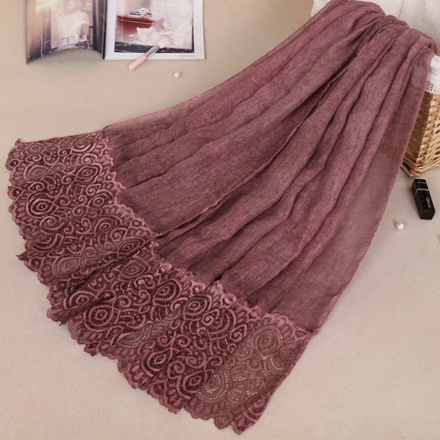 2018 Fashion Popular Hijab Lace Scarf Headscarf Wholesale Cotton and Linen Muslim Scarfs for Women Scarves Drop Shipping-geekbuyig