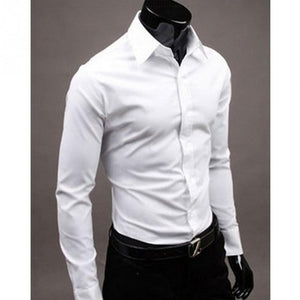 2018 Autumn Business Men Shirt Turn-down Collar Slim Fit Unique Neckline Stylish Long Sleeve Mens Shirts Chemise Homme-geekbuyig