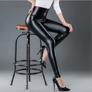 2018 Autumn Winter Women High Quality PU Leggings Female Faux Leather High Waist Elastic Pencil Pants Bottoms Woman-geekbuyig