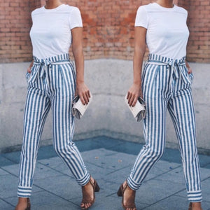2018 new fashion spring and autumn women's casual waist Trousers striped patchwork pockets Pants-geekbuyig
