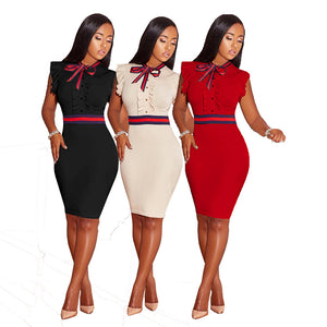 Women Sexy Sleeveless knee Length Pearl Bow tie Summer Plus Size Bodycon Dress 3XL-geekbuyig