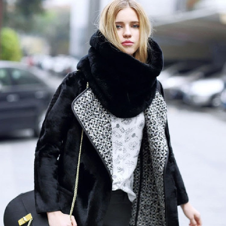 Winter Neck Gear Fur Scarves Extra Large Fashion Faux Fur Infinity Scarf Neck Warmer Snood Unique Design AA10075-geekbuyig