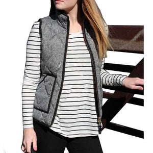 Free Ostrich Vest Coat Women Slim Fall Winter Quilted Herringbone Padded Vest With Zipper veste femme For Women Spring N30-geekbuyig