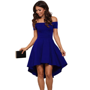 2018 Summer Women Sexy Slash Neck Short Sleeve Dress Off Shoulder Elegant Ladies Dresses Party Solid dovetail Female Vestidos-geekbuyig