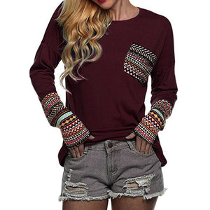 Cropped Feminino 2018 Spring Women's Patchwork Casual Loose T-shirts Autumn Ladies Long Sleeve Crewneck Pocket Tee Tops #YL-geekbuyig