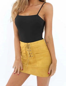 Fashion Women Girl Summer High Waist A-line Skirts Button Front Suede Leather Casual Bandage Short Mini Skirt-geekbuyig