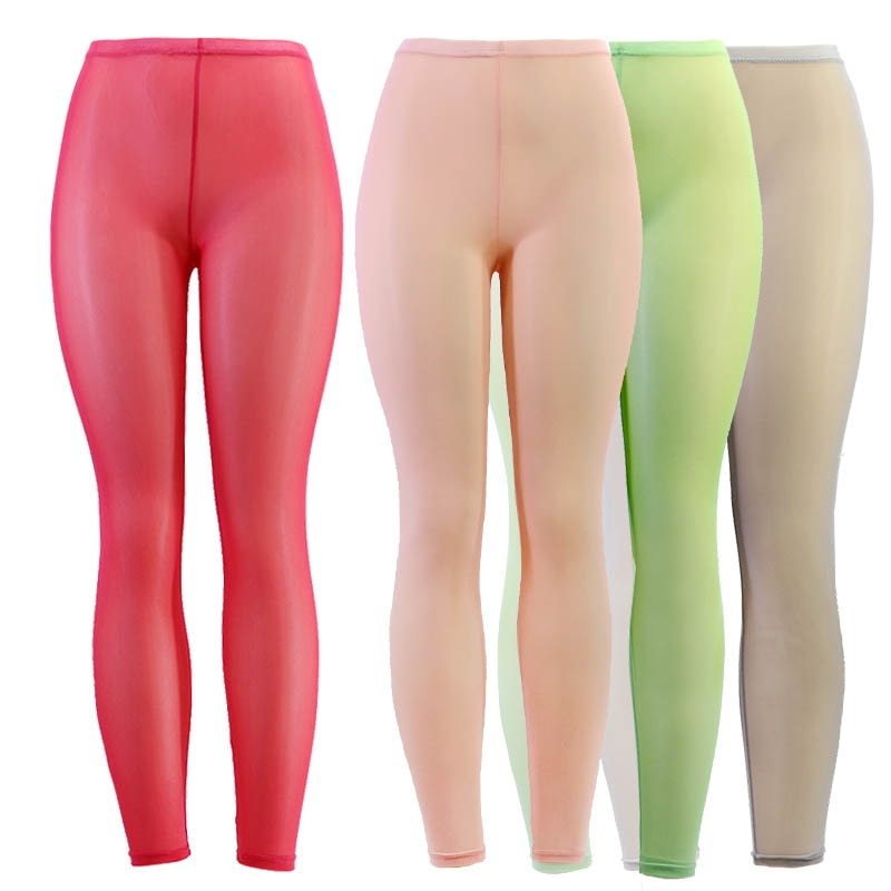 Wulekue Women Mesh Transparent Leggings See Through Pencil Pants Erotic Lingerie Club Wear Candy Colors Elastic Stretch Pants-geekbuyig
