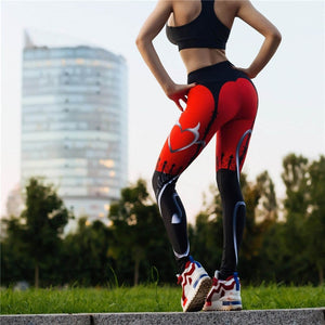 High Quality New Sexy Heart Print Leggings Women Red Black Patchwork Sporting Pants Fashion Printed Women's Fitness Leggings-geekbuyig