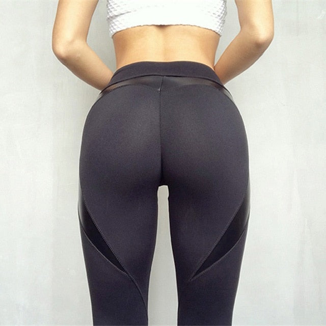 Black Heart Shape Booty Leggings PU Leather Patchwork Skinny Long Pants Women Push Up Workout Sporting Leggings-geekbuyig