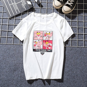 JIANWEILI Summer T shirt women Pink Panther printing loose casual harajuku T-shirt Short Sleeves tshirt Tops Tee plus size shirt-geekbuyig