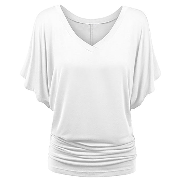 Romacci Women Summer Loose T-shirt Ruched V-Neck Batwing Short Sleeves Plus Size T shirt XXXL XXXXL 4XL 5XL Solid Casual Top-geekbuyig
