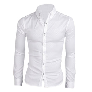 SYB 2016 NEW New men shirt casual slim fit mens dress shirts white-geekbuyig