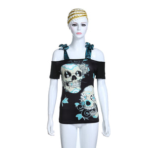 Slash Neck T-shirt Suspenders Summer Female Skull 3D Digital Print Loose Tops Women Casual Strapless Strap T-shirt Tees TNN#-geekbuyig