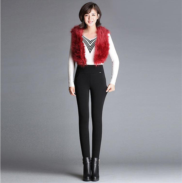 Winter Russia Women Warm Leggings Skinny Slim Fleece Thick Velvet Pants High Waist Elastic Lady wine blue Casual long Trousers-geekbuyig