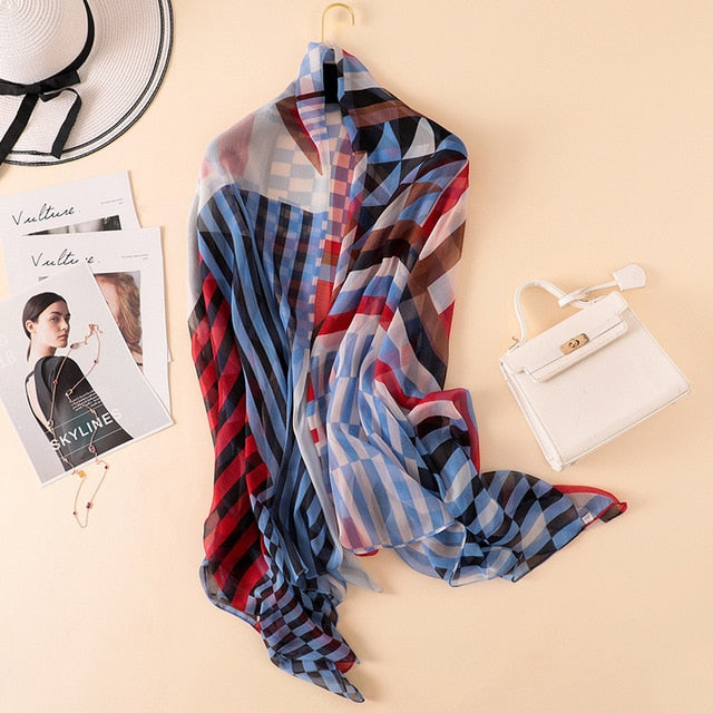 2018 spring summer women silk scarves big size beach stoles lady shawls and wraps pashmina foulard plaid print soft hijabs-geekbuyig