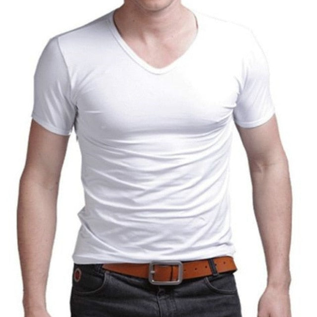 2018 Fashion Summer Cotton T shirt men casual short sleeve V-neck T-shirts Black White Plus Size M-XL-geekbuyig