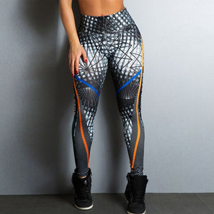 2018 New Sports Printing Style Leggings Put Hip Fold Elastic High Waist Legging Breathable Slim Pants-geekbuyig