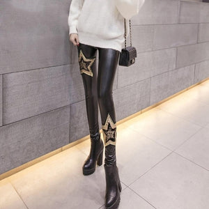 Punk Gothic Women PU Leather Pants Stitching Embroidery Sequin winter Ladies High Waist Elastic Skinny PU Trousers Leggings-geekbuyig