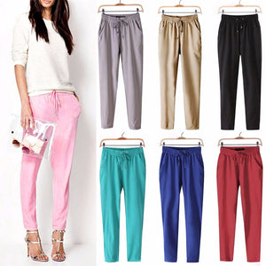Fashion Women Leisure Strappy Pants Elastic Waist Bright Color Summer Spring Hot-geekbuyig