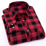Red Flannel Plaid Shirt Men 2018 Fashion Dress Men shirt Casual Warm Soft Long Sleeve Shirts camiseta masculina chemise homme-geekbuyig