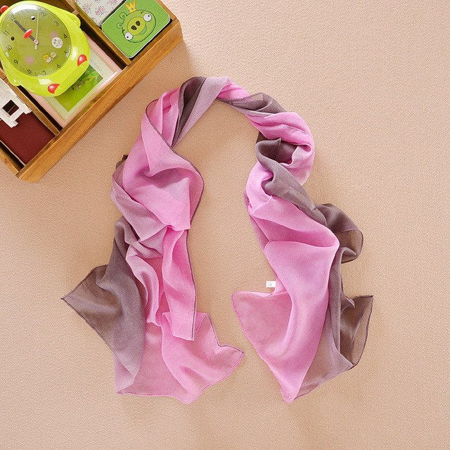 Fashion Women Elegant Lady Chiffon Silk Scarf Summer Georgette Shawls Scarves Gradient color foulard femme-geekbuyig