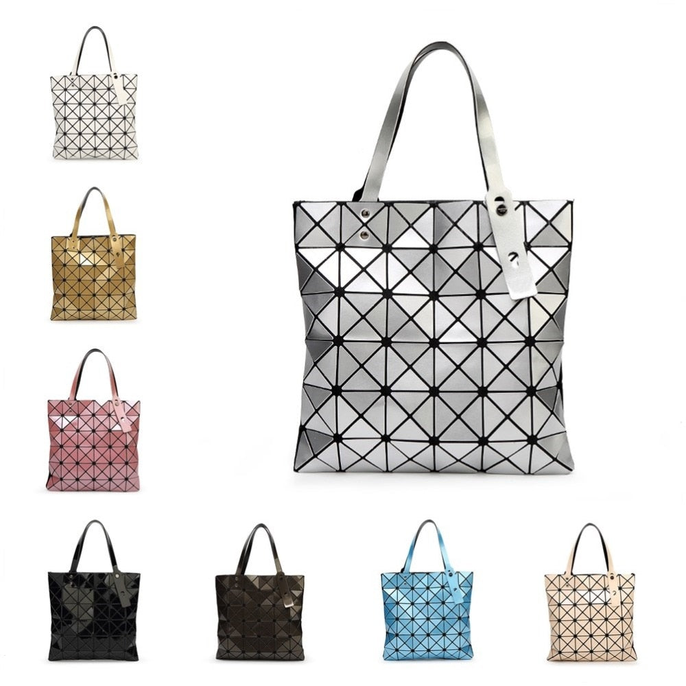 MANSURSPACE Fashion Handbags bao Bags Laser Geometric Diamond Shape Silica gel Sliver Paint Patchwork Tote Women Shoulder Bag-geekbuyig