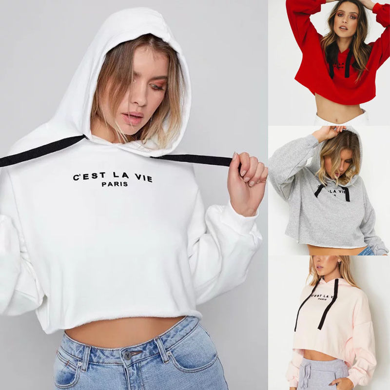 Spring Autumn New Fashion Women Letter Hoodded Sweatshirt Jumper Casual Crop Top Coat Pullover Hoodie Stylish Womens Hoodies-geekbuyig