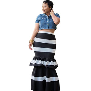 Women Mermaid Long Skirts Ruffle Striped Color Block Vintage Zipper Floor-length Skirts Female Party Pencil Trumpet Maxi Skirts-geekbuyig