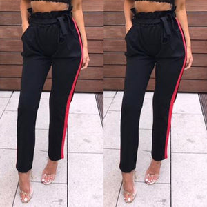 women OL high waist harem pants bow tie drawstring sweet elastic waist pockets casual trousers pantalones New-geekbuyig
