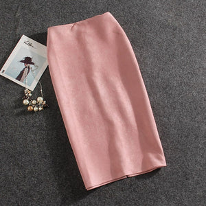 Women Skirts Suede Split Thick Stretchy Skirt Female Pencil Skirts Plus Size Faldas Mujer-geekbuyig