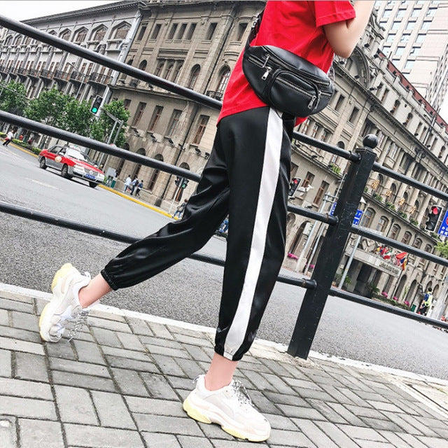 JIANWEILI Pants Women Striped Casual Harajuku Gothic Women Harem Ankle-Length Sporting Pants Female Height Waist Trousers Women-geekbuyig