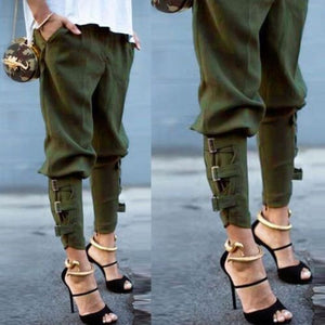 2018 Women Elastic High Waist Camo Military Combat Long Pant Slouchy Cargo Trousers-geekbuyig