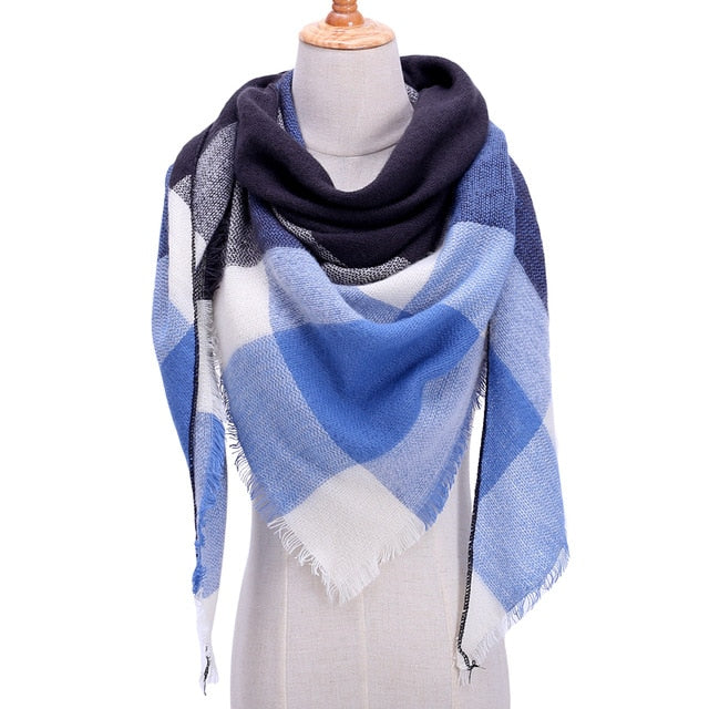 Designer 2018 knitted spring winter women scarf plaid warm cashmere scarves shawls luxury brand neck bandana pashmina lady wrap-geekbuyig