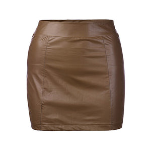 Women Sexy Bandge Leather High Waist Pencil Bodycon Hip Short Mini Skirt Woman Skirt Naisten Hame#LSJ-geekbuyig