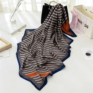 Hot Sale Scarf 100% Silk Feeling Shawl Scarf Foulard Print Square Head Scarves Hijab Wraps 2017 NEW 90x90cm-geekbuyig