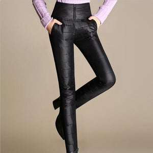 2018 Women's Pants Trousers Winter High Waisted Outer Wear Women female Fashion Slim Warm Thick Duck Down Pants Trousers skinny-geekbuyig