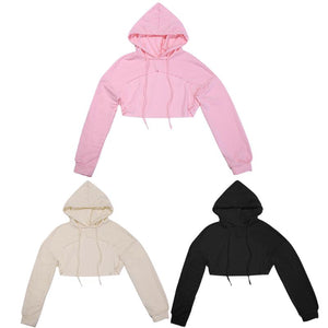 Women Sweatshirt Cut out Crop Tops Hoodies Fashion Street Women Casual moletom Front Hollow Long Sleeve Solid Cool Clothing-geekbuyig