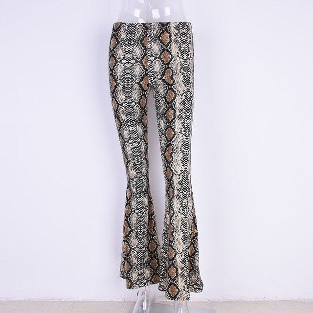 NEW Fashion Flare Pants Snakeskin flared trousers High Waist leopard pants 2018 full Length Sexy Streetwear Women Trousers-geekbuyig