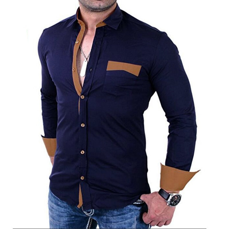 2018 Brand New hot sale Casual Men Shirts Slim Solid Long Sleeve Shirt Men Business Social Dress Shirt Clothes camisa masculina-geekbuyig