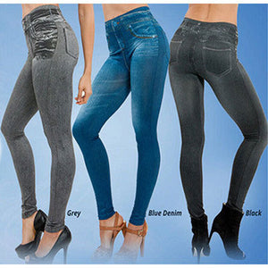 Leggings Jeans Denim Pants with Pocket Slim Jeggings Fitness S-XXL 3 Colors Woman Sexy High Waist Jeans Slim Leggings Stretchy-geekbuyig