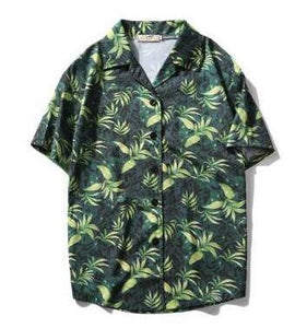 2018 New Arrival Men Fashion Brand Summer Leaves Flower Pineapple Print Loose ShortSleeve Shirt Male Hawaiian Style Beach Shirt-geekbuyig