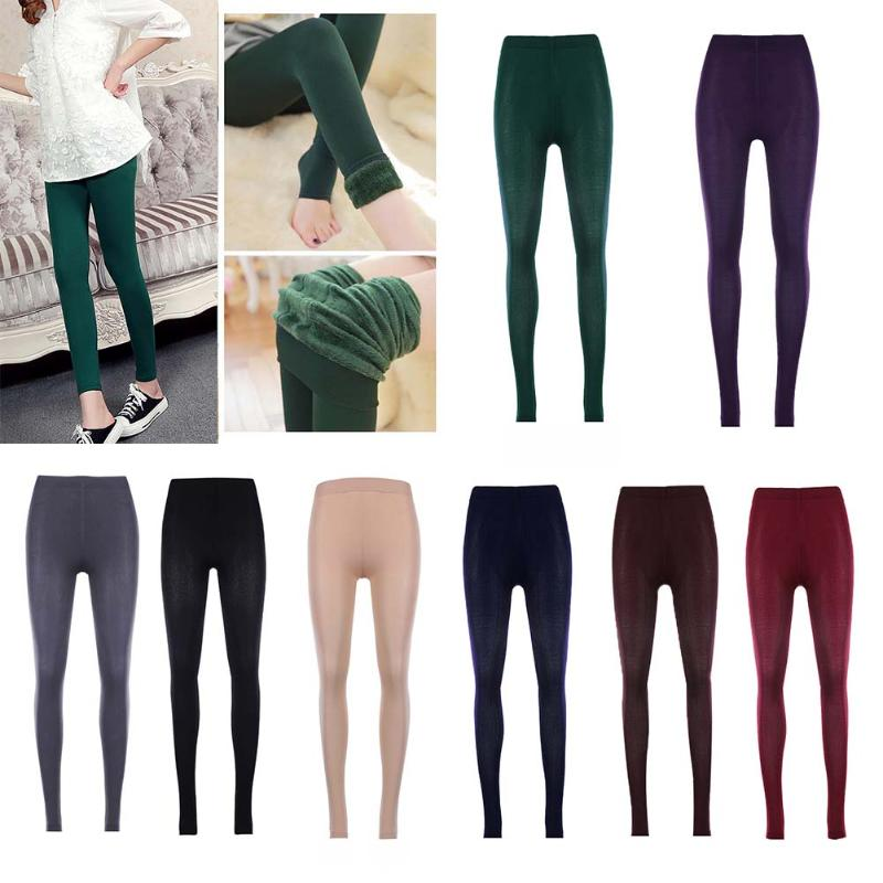 Women Winter Warm Leggings Elastic High Waist Slim Plus Size Velvet Thicken Warm Legging Thick Trousers Female 8 Colors Cacual-geekbuyig