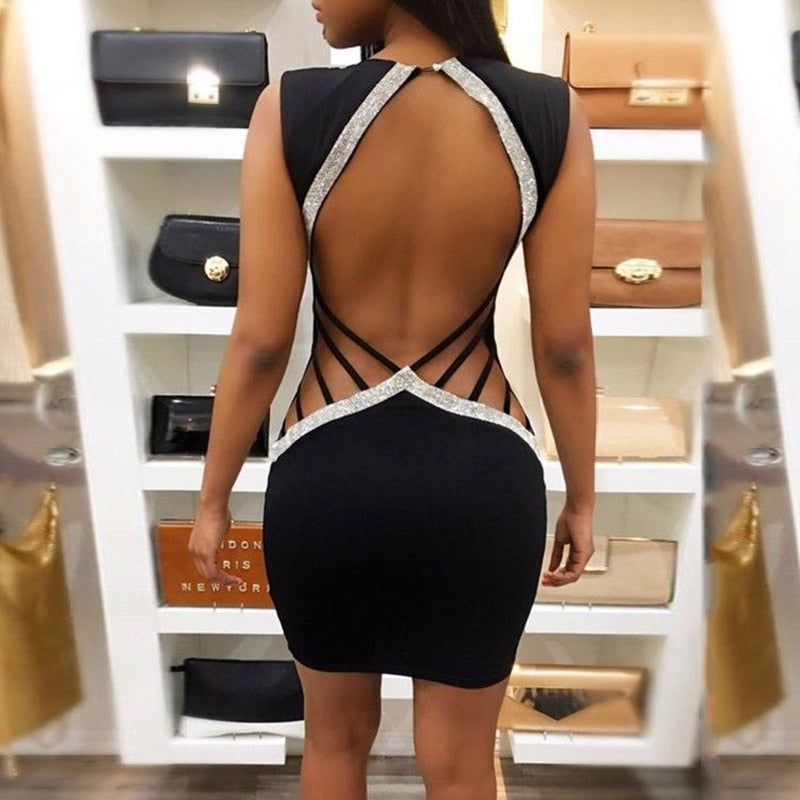 Women Bandage Bodycon Sleeveless Backless Party Cocktail Club Short Mini Dress-geekbuyig