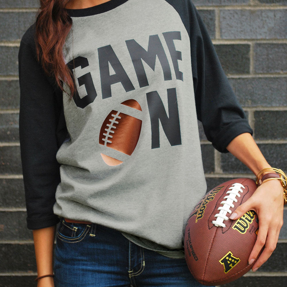 Fashion Women T-Shirt 2018 Autumn 3/4 Sleeve t shirt Game On Football Letter Printed Baseball T-Shirt Casual Gray Ladies Tops-geekbuyig