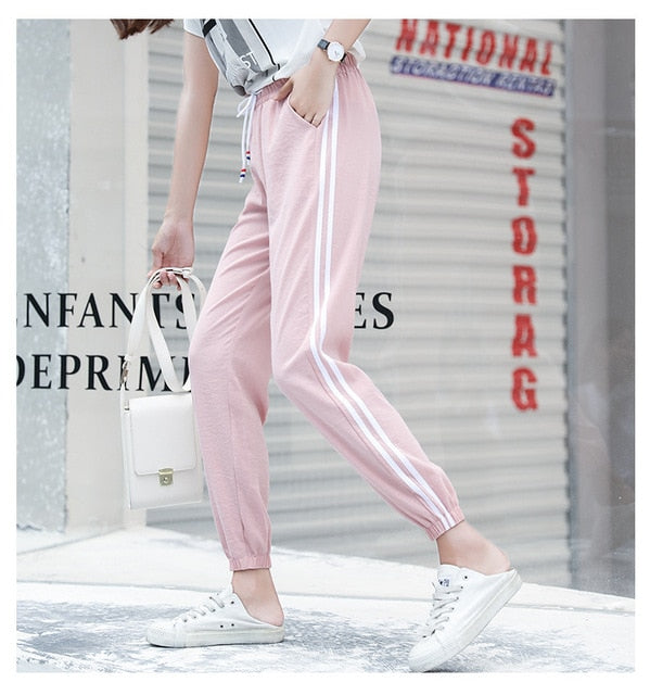 2018 Summer Women Ankle Length Leisure Pants Bottoms Female Side Striped Pants Sweatpants Sportswear Harem Pants Loose Trousers-geekbuyig