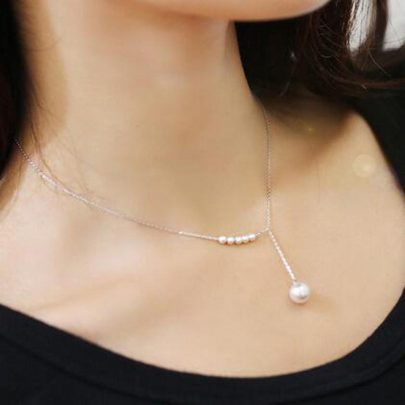 Korean jewelry temperament sweet accessories imitation pearl necklace female clavicle fine chain Statement Necklace Csgo-geekbuyig