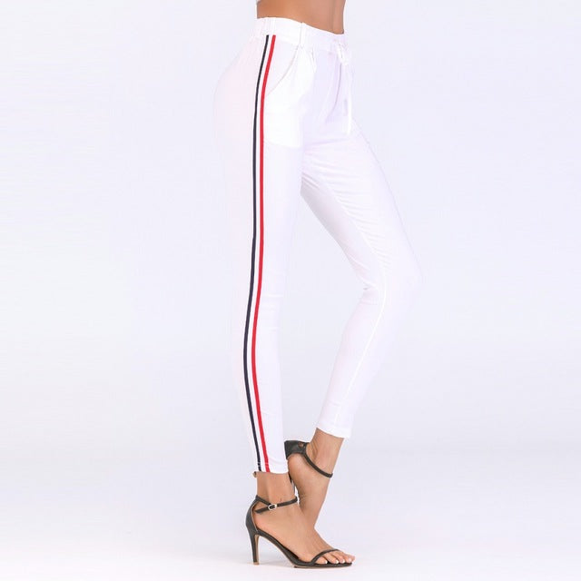 2018 Autumn joggers Women Side Striped Pants Trousers Casual High Elastic Waist Drawstring Slim Pencil Pants female Sweatpants-geekbuyig