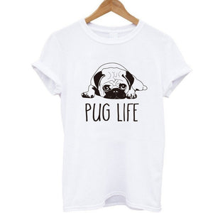 COOLMIND PU0111B 100% cotton women T shirt casual loose design o-neck women cute pug print T-shirt summer Tshirt cute Tee shirt-geekbuyig