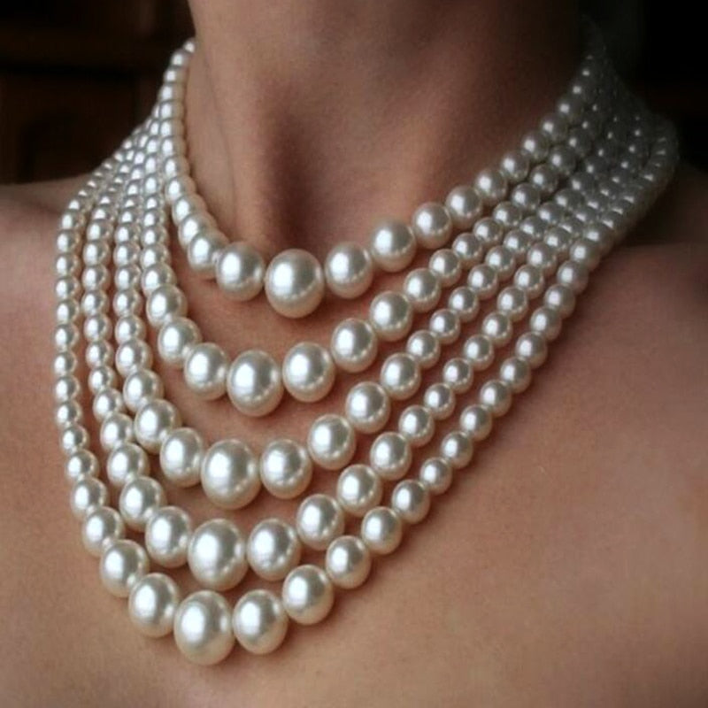 2018 New Women Fashion choker Multi-layered tassels Milk White big Pearls Necklace Beads Statement Collar Necklace jewelry-geekbuyig